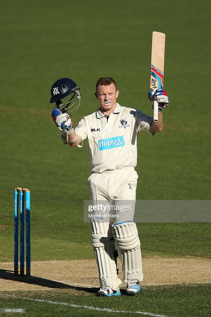 <a gi-track='captionPersonalityLinkClicked' href=/galleries/search?phrase=Chris+Rogers+-+Cricket+Player&family=editorial&specificpeople=178255 ng-click='$event.stopPropagation()'>Chris Rogers</a> of the VIC Bushrangers celebrates after reaching 100 runs during day two of the Sheffield Shield match between South Australia and Victoria at Adelaide Oval on November 17, 2014 in Adelaide, Australia.