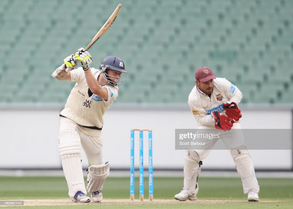 <a gi-track='captionPersonalityLinkClicked' href=/galleries/search?phrase=Chris+Rogers+-+Cricket+Player&family=editorial&specificpeople=178255 ng-click='$event.stopPropagation()'>Chris Rogers</a> of Victoria bats as wicketkeeper <a gi-track='captionPersonalityLinkClicked' href=/galleries/search?phrase=Chris+Hartley&family=editorial&specificpeople=185229 ng-click='$event.stopPropagation()'>Chris Hartley</a> of the Bulls looks on during day two of the Sheffield Shield match between the Victorian Bushrangers and Queensland Bulls at Melbourne Cricket Ground on February 19, 2013 in Melbourne, Australia.