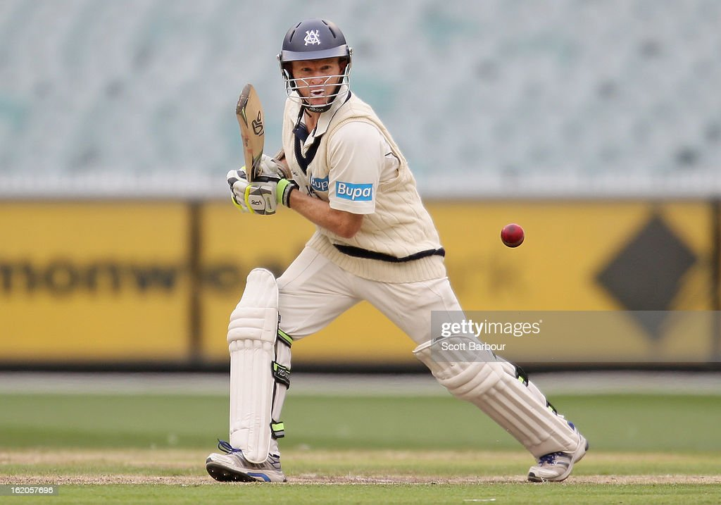 <a gi-track='captionPersonalityLinkClicked' href=/galleries/search?phrase=Chris+Rogers+-+Cricket+Player&family=editorial&specificpeople=178255 ng-click='$event.stopPropagation()'>Chris Rogers</a> of Victoria bats during day two of the Sheffield Shield match between the Victorian Bushrangers and Queensland Bulls at Melbourne Cricket Ground on February 19, 2013 in Melbourne, Australia.