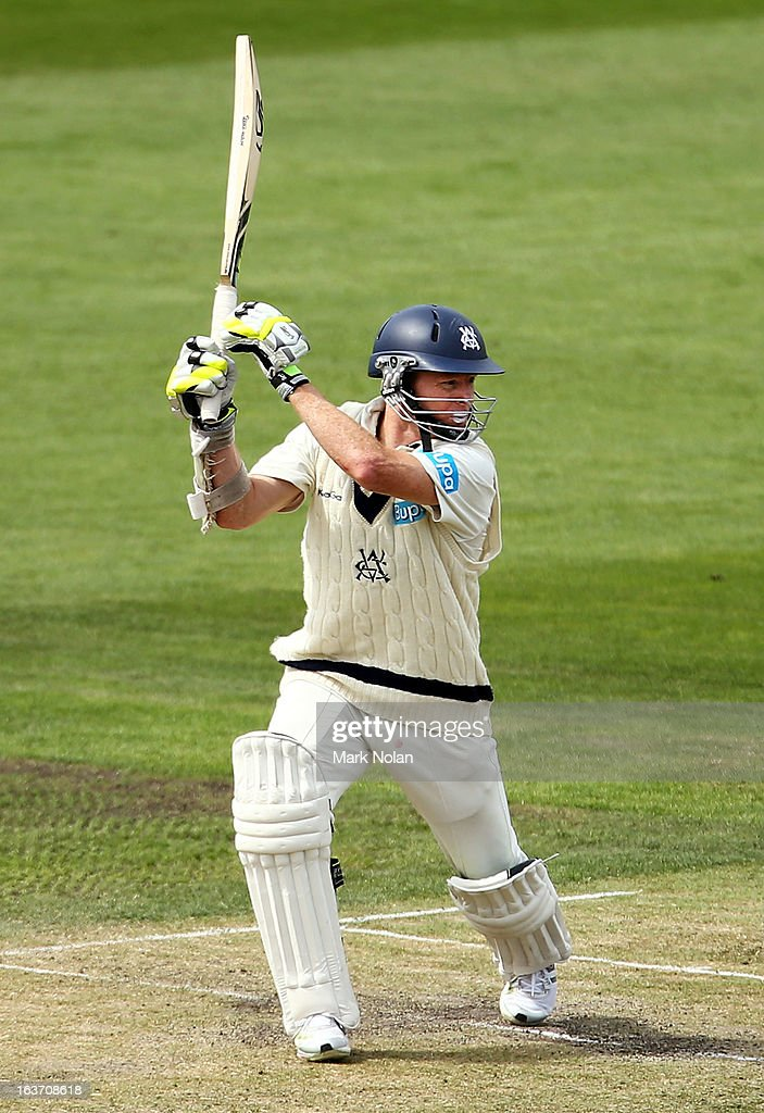 <a gi-track='captionPersonalityLinkClicked' href=/galleries/search?phrase=Chris+Rogers+-+Cricket+Player&family=editorial&specificpeople=178255 ng-click='$event.stopPropagation()'>Chris Rogers</a> of Victoria bats during day two of the Sheffield Shield match between the Tasmania Tigers and the Victoria Bushrangers at Blundstone Arena on March 15, 2013 in Hobart, Australia.