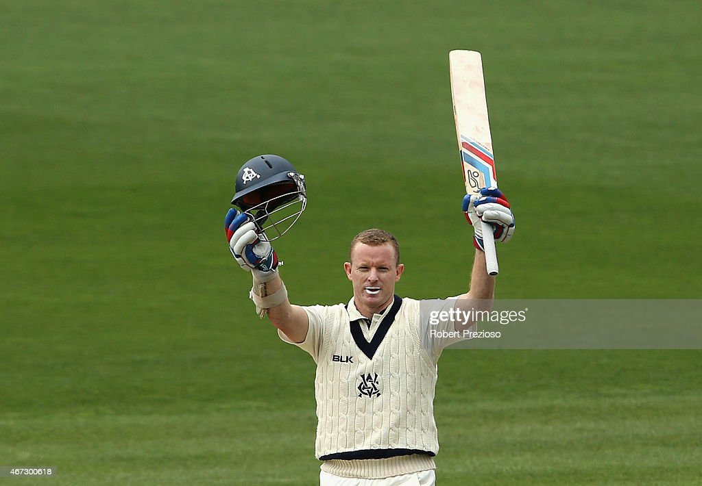 <a gi-track='captionPersonalityLinkClicked' href=/galleries/search?phrase=Chris+Rogers+-+Cricket+Player&family=editorial&specificpeople=178255 ng-click='$event.stopPropagation()'>Chris Rogers</a> of Victoria celebrates after scoring his century during day three of the Sheffield Shield final match between Victoria and Western Australia at Blundstone Arena on March 23, 2015 in Hobart, Australia.