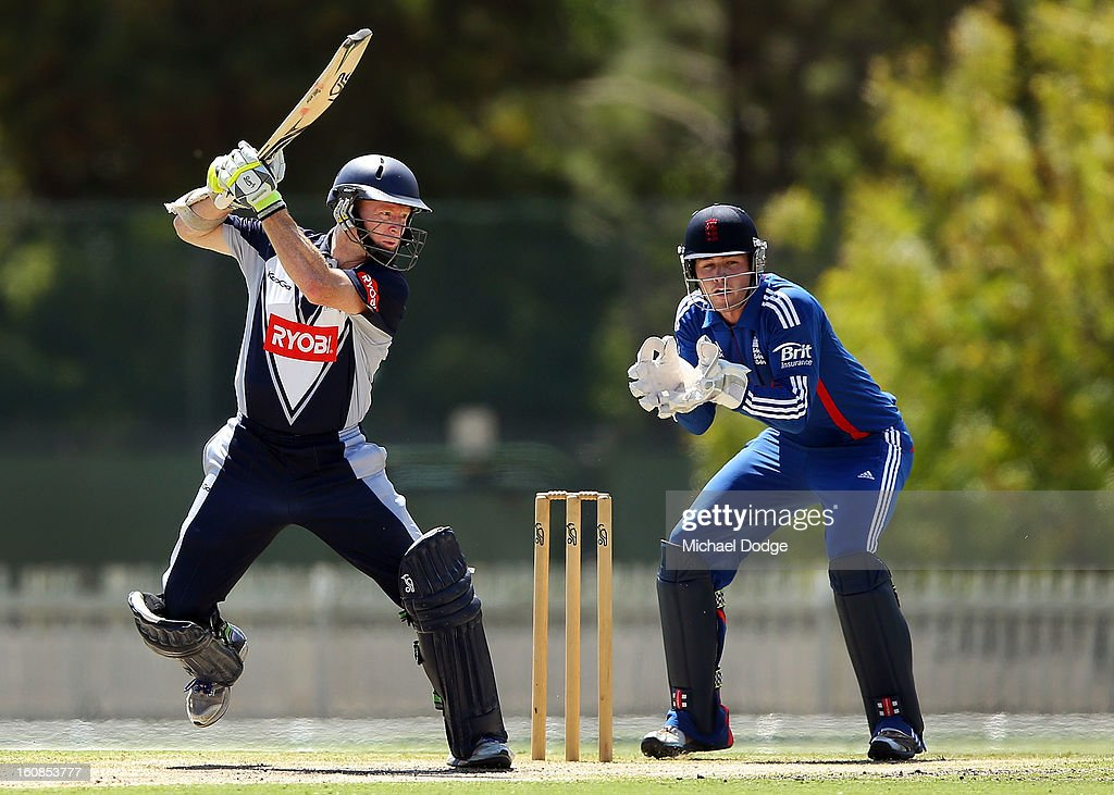 Chris Rogers of Victoria hits the ball during the International tour match between the Victorian 2nd XI and the England Lions at Junction Oval on February 7, 2013 in Melbourne, Australia.
