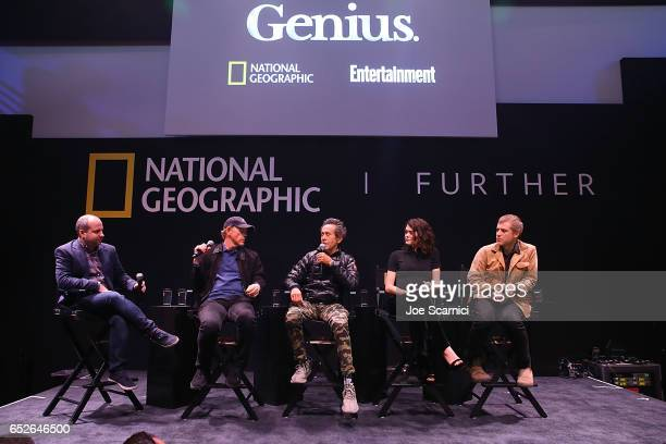Chris Rosen Ron Howard Brian Grazer Samantha Colley and Johnny Flynn speak onstage at the Genius Panel at the 'Nat Geo Further Base Camp' during day...