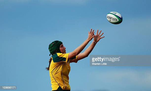 Chris Ross of Australia wins the lineout ball during the Women's Rugby World Cup 2010 Pool A Match between Australia and South Africa at Surrey...