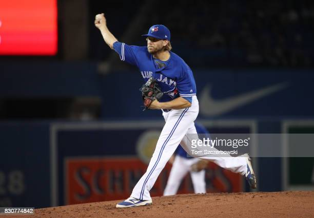 Chris Rowley of the Toronto Blue Jays delivers a pitch in the second inning during MLB game action against the Pittsburgh Pirates at Rogers Centre on...
