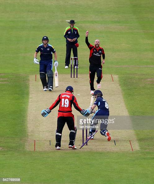 Chris Rushorth of Durham celebrates taking the wicket of Kane Williamson of Yorkshire during the NatWest T20 Blast game between Durham Jets and...