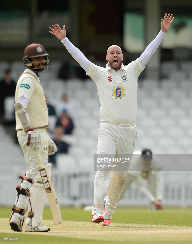 Chris Rushworth of Durham appeals for an lbw decision against Rory Burns (not in picture) of Surrey during day one of the Specsavers County Championship Division One match between Surrey and Durham at the Kia Oval on May 1, 2016 in London, England.