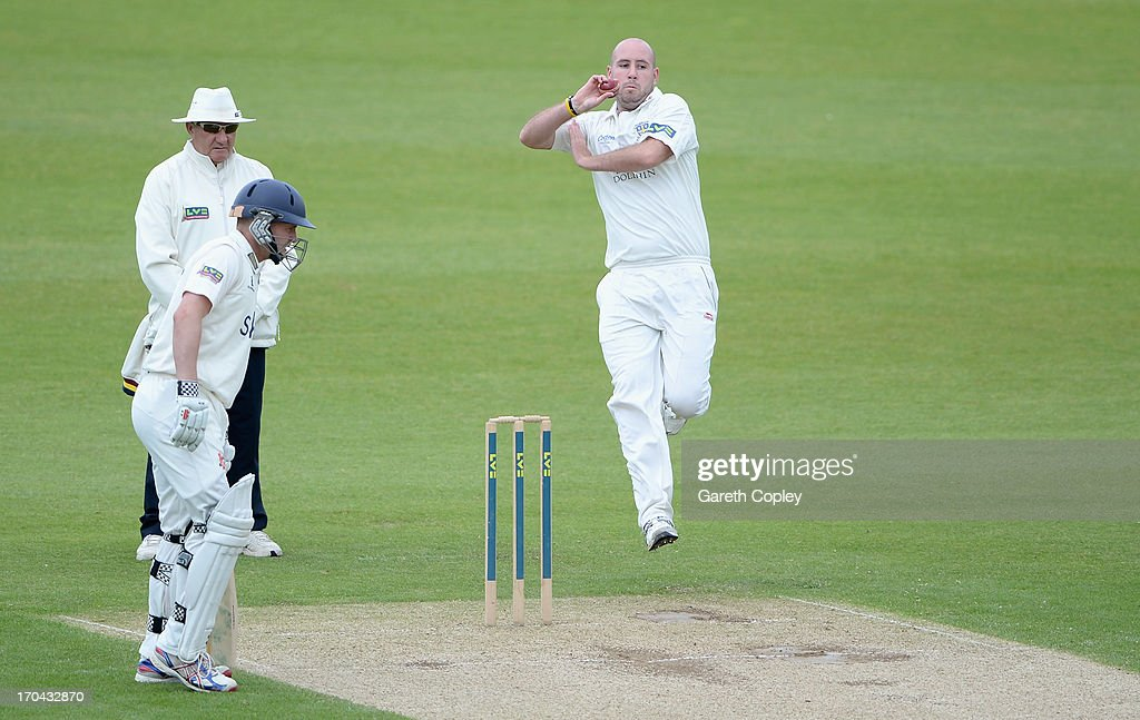 Chris Rushworth of Durham bowls during day two of the LV County Championship Division One match between Durham and Warwickshire at The Riverside on June 13, 2013 in Chester-le-Street, England.