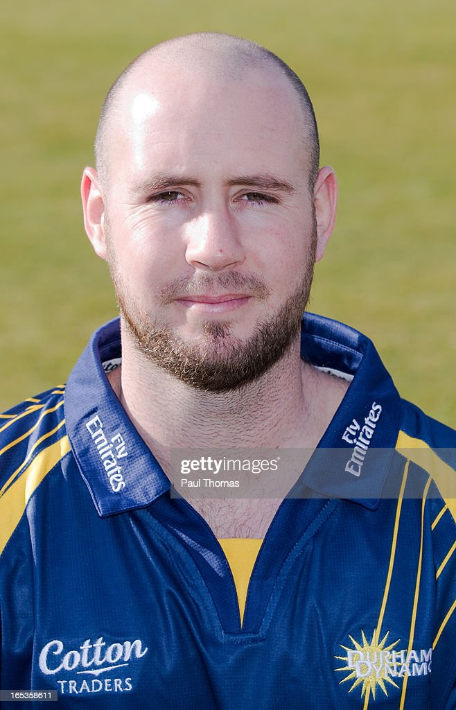 Chris Rushworth of Durham CCC wears the Yorkshire Bank 40 kit during a pre-season photocall at The Riverside on April 3, 2013 in Chester-le-Street, England.