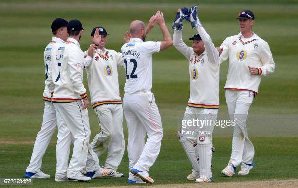 Chris Rushworth of Durham celebrates after dismissing Jack Taylor of Gloucestershire during the Specsavers County Championship Division Two match...