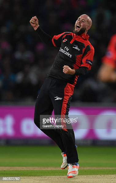 Chris Rushworth of Durham celebrates dismissing Ben Duckett of Northamptonshire during the NatWest t20 Blast Final between Northamptonshire and...
