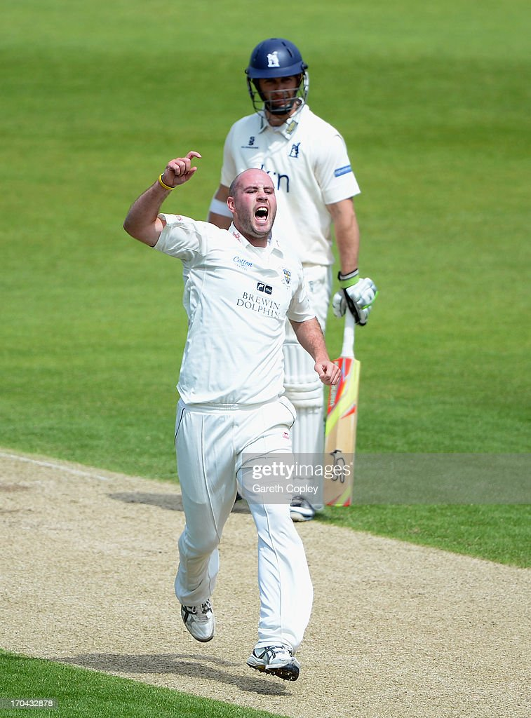 Chris Rushworth of Durham celebrates dismissing William Porterfield during day two of the LV County Championship Division One match between Durham and Warwickshire at The Riverside on June 13, 2013 in Chester-le-Street, England.