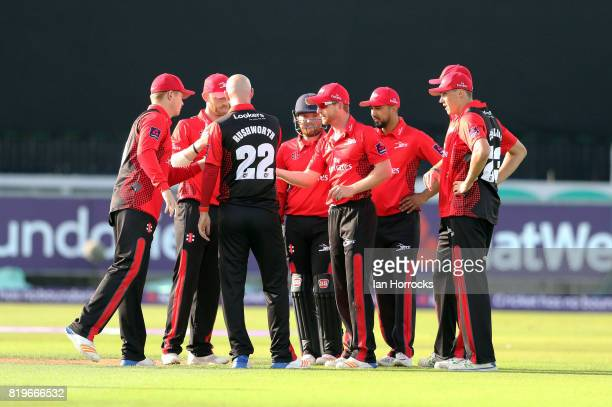 Chris Rushworth of Durham celebrates taking the wicket of Delport during the NatWest T20 Blast match between Durham Jets and Leicestershire Foxes at...