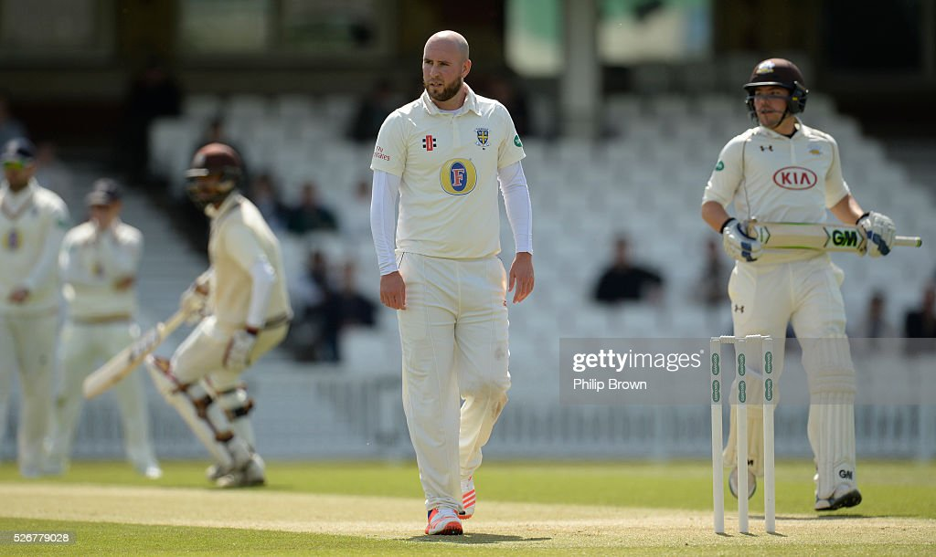 Chris Rushworth of Durham looks on as Surrey score runs during day one of the Specsavers County Championship Division One match between Surrey and Durham at the Kia Oval on May 1, 2016 in London, England.