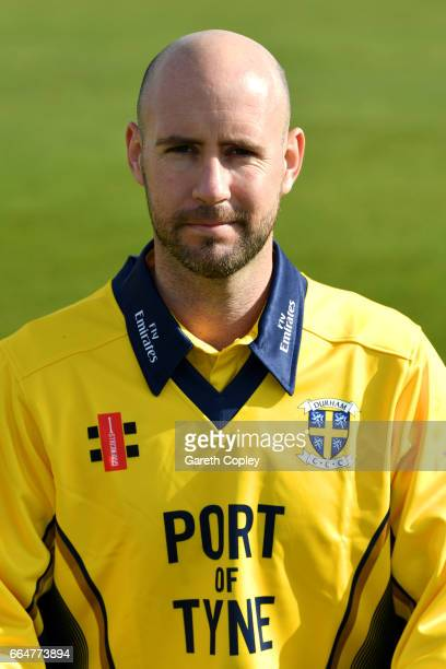 Chris Rushworth of Durham poses for a portrait during their press day at The Riverside on April 5 2017 in ChesterleStreet England