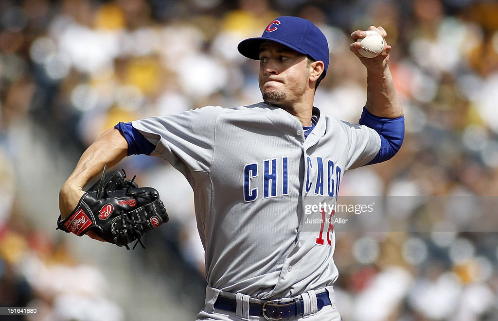 Chris Rusin #18 of the Chicago Cubs pitches against the Pittsburgh Pirates during the game on September 9, 2012 at PNC Park in Pittsburgh, Pennsylvania.