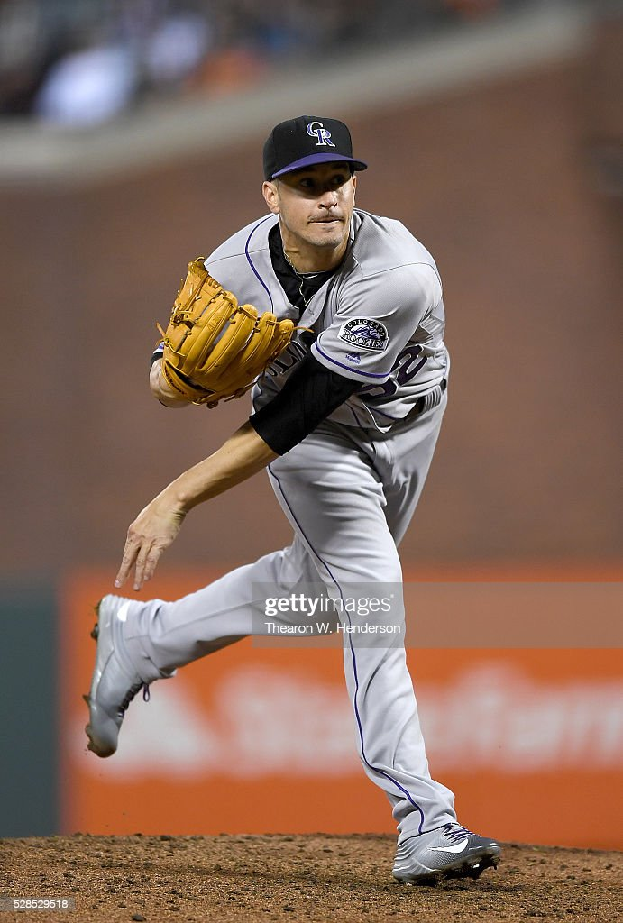 Chris Rusin #52 of the Colorado Rockies pitches against the San Francisco Giants in the bottom of the fourth inning at AT&T Park on May 5, 2016 in San Francisco, California.