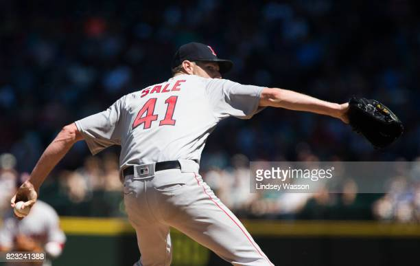 Chris Sale of the Boston Red Sox delivers a pitch against the Seattle Mariners in the fifth inning at Safeco Field on July 26 2017 in Seattle...