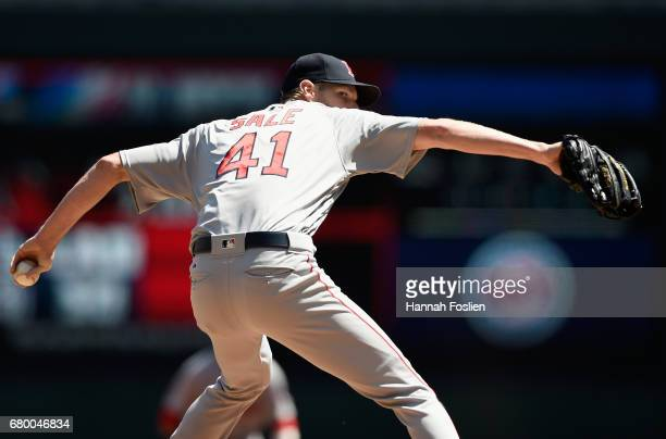 Chris Sale of the Boston Red Sox delivers a pitch against the Minnesota Twins during the first inning of the game on May 7 2017 at Target Field in...