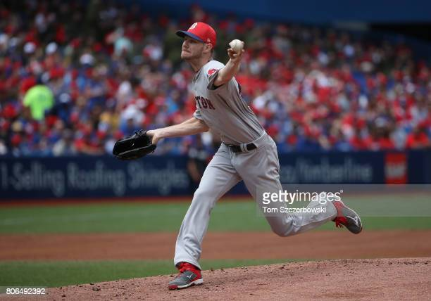 Chris Sale of the Boston Red Sox delivers a pitch in the first inning during MLB game action against the Toronto Blue Jays at Rogers Centre on July 1...