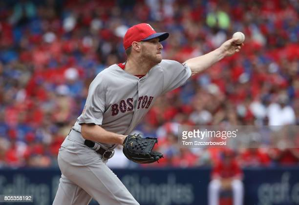 Chris Sale of the Boston Red Sox delivers a pitch in the fourth inning during MLB game action against the Toronto Blue Jays at Rogers Centre on July...
