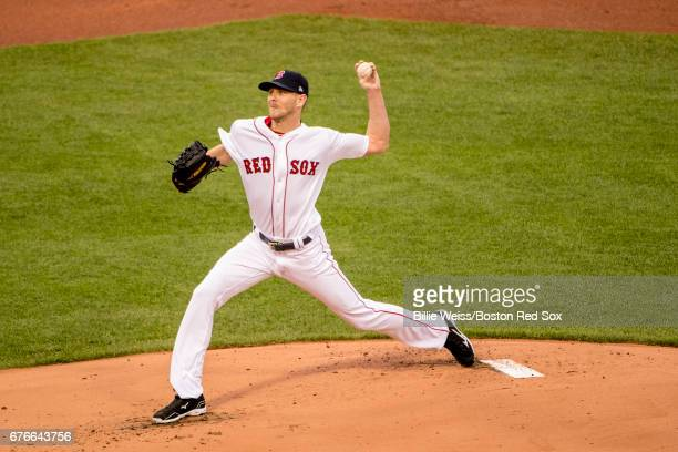 Chris Sale of the Boston Red Sox delivers during the first inning of a game against the Baltimore Orioles on May 2 2017 at Fenway Park in Boston...