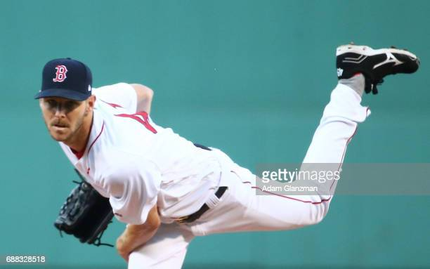 Chris Sale of the Boston Red Sox delivers in the first inning of a game against the Texas Rangers at Fenway Park on May 24 2017 in Boston...