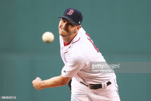 Chris Sale of the Boston Red Sox delivers in the first inning of a game against the Detroit Tigers at Fenway Park on June 10 2017 in Boston...