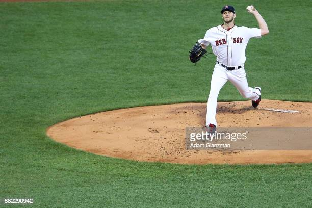 Chris Sale of the Boston Red Sox delivers in the second inning of a game against the New York Yankees at Fenway Park on August 19 2017 in Boston...