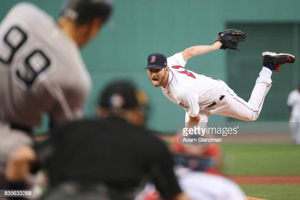 Chris Sale of the Boston Red Sox delivers to Aaron Judge of the New York Yankees in the first inning of a game at Fenway Park on August 19 2017 in...
