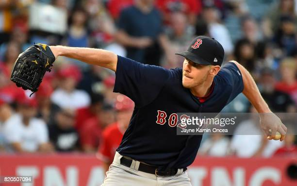 Chris Sale of the Boston Red Sox in the first inning of the game against the Los Angeles Angels of Anaheim at Angel Stadium of Anaheim on July 21...