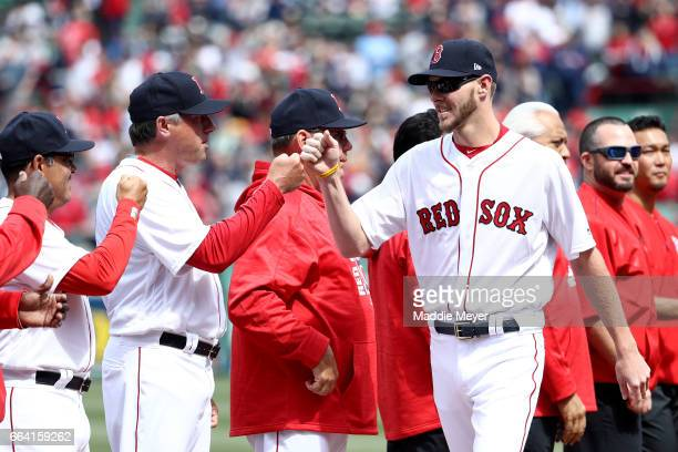 Chris Sale of the Boston Red Sox is announced before the opening day game between the Boston Red Sox and the Pittsburgh Pirates at Fenway Park on...