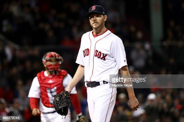 Chris Sale of the Boston Red Sox looks on during the seventh inning against the Pittsburgh Pirates at Fenway Park on April 5 2017 in Boston...