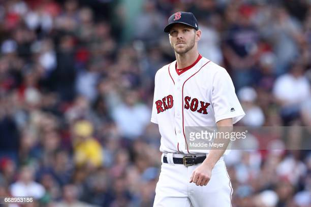 Chris Sale of the Boston Red Sox looks on during the third inning against the Tampa Bay Rays at Fenway Park on April 15 2017 in Boston Massachusetts...
