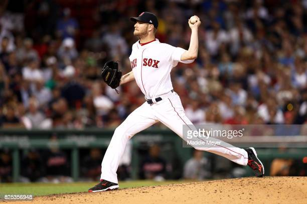 Chris Sale of the Boston Red Sox pitches against the Cleveland Indians during the third inning at Fenway Park on August 1 2017 in Boston Massachusetts