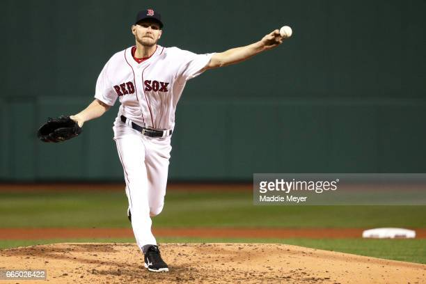 Chris Sale of the Boston Red Sox pitches against the Pittsburgh Pirates during the fourth inning at Fenway Park on April 5 2017 in Boston...