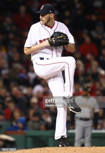 Chris Sale of the Boston Red Sox pitches against the Pittsburgh Pirates during the seventh inning at Fenway Park on April 5 2017 in Boston...