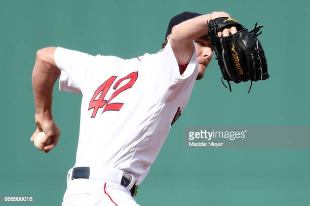 Chris Sale of the Boston Red Sox pitches against the Tampa Bay Rays during the first inning at Fenway Park on April 15 2017 in Boston Massachusetts...