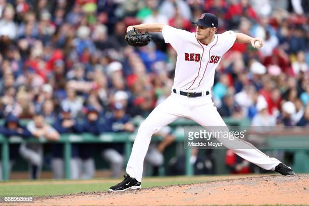 Chris Sale of the Boston Red Sox pitches against the Tampa Bay Rays during the sixth inning at Fenway Park on April 15 2017 in Boston Massachusetts...