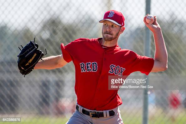 Chris Sale of the Boston Red Sox pitches during a team workout on February 17 2017 at Fenway South in Fort Myers Florida