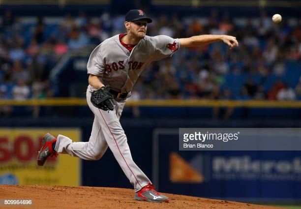 Chris Sale of the Boston Red Sox pitches during the first inning of a game against the Tampa Bay Rays on July 6 2017 at Tropicana Field in St...