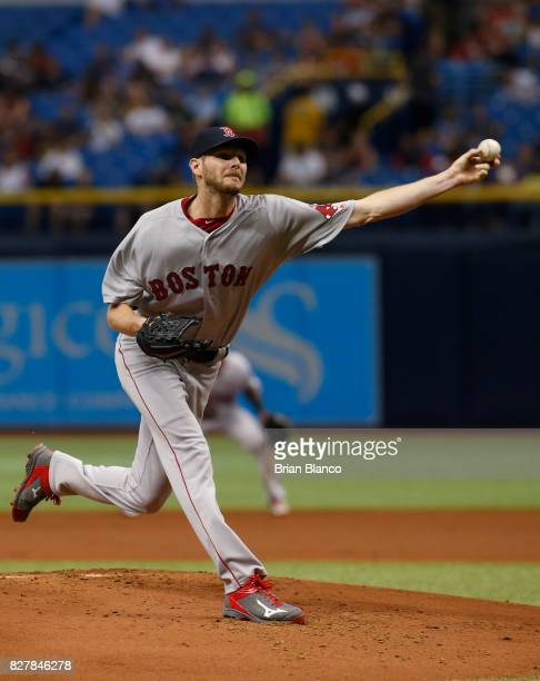 Chris Sale of the Boston Red Sox pitches during the first inning of a game against the Tampa Bay Rays on August 8 2017 at Tropicana Field in St...