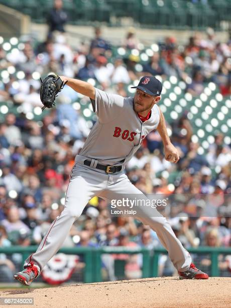 Chris Sale of the Boston Red Sox pitches during the second inning of the game against the Detroit Tigers on April 10 2017 at Comerica Park in Detroit...