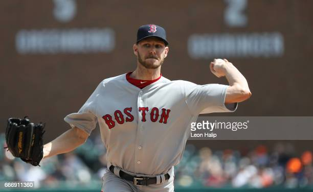 Chris Sale of the Boston Red Sox pitches during the third inning of the game against the Detroit Tigers on April 10 2017 at Comerica Park in Detroit...