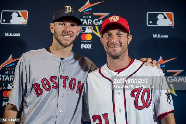 Chris Sale of the Boston Red Sox poses for a photograph with Max Scherzer of the Washington Nationals as they are announced as the starting pitchers...