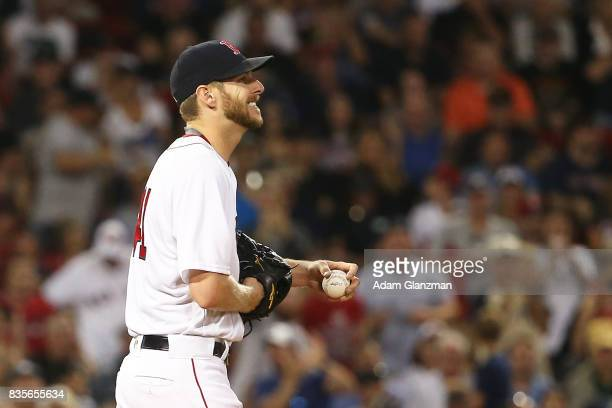 Chris Sale of the Boston Red Sox reacts after giving up a solo home run to Todd Frazier of the New York Yankees in the sixth inning of a game at...