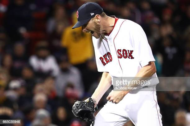 Chris Sale of the Boston Red Sox reacts during the seventh inning against the Pittsburgh Pirates at Fenway Park on April 5 2017 in Boston...