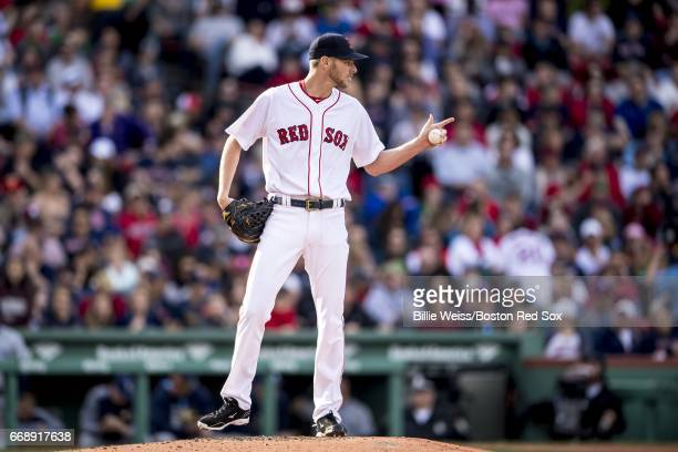 Chris Sale of the Boston Red Sox reacts during the third inning of a game against the Tampa Bay Rays on April 15 2017 at Fenway Park in Boston...