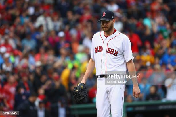 Chris Sale of the Boston Red Sox reacts in the sixth inning against the Houston Astros during game four of the American League Division Series at...