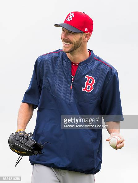 Chris Sale of the Boston Red Sox smiles while working out on February 13 2017 at jetBlue Park in Fort Myers Florida Chris Sale